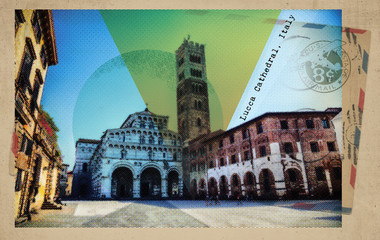 Lucca Cathedral, Italy, retro card