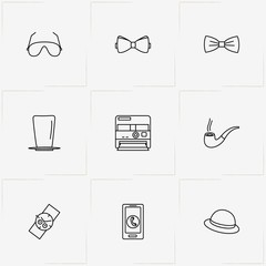 Hipster line icon set with watch , polaroid  and smart phone