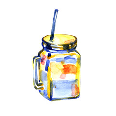 Glass mug with lid and tube. Hand drawn watercolor painting on white background.