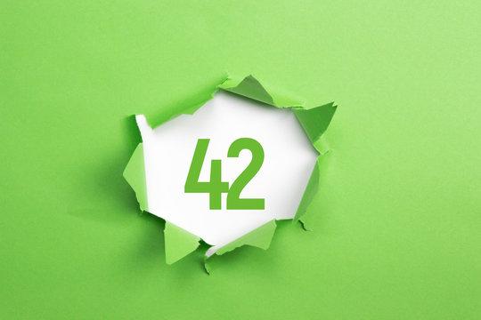 gruene Nummer 42 auf gruenem Papier