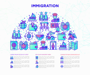 Immigration concept in half circle with thin line icons: immigrants, illegals, baggage examination, international flights, customs, refugee camp, social benefit. Vector illustration, web page template