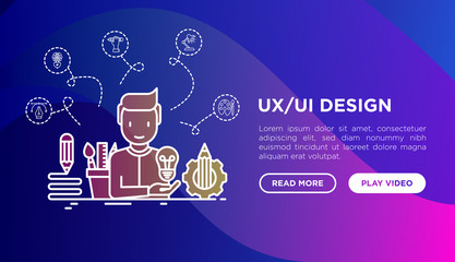 UX/UI design concept: creator generates idea, with thin line icons: start up, brief, brainstorming, puzzle, color palette, creative vision, genius. Modern vector illustration, web page template.