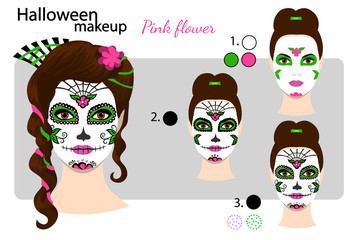Makeup drawing technique, for Dia de los Muertos, day of the dead. Halloween face art skull Mexican style