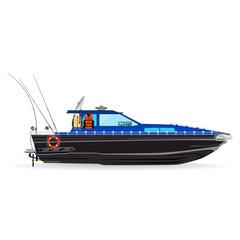 Fishing motor boat with fishing equipment vector flat illustration