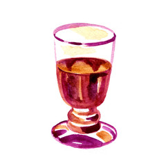 Red wine in a glass isolated on white background. Watercolor hand drawn illustration.