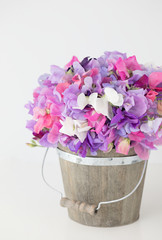 Photograph of a wooden bucket filled with Sweet Pea flowers on white