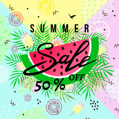 """summer sale"" hand written lettering vector illustration with watermelon on trendy summer background"