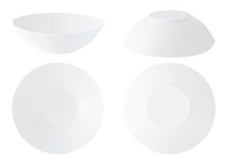 Set of different views of white empty soup plates or bowls isolated on white background. Collection of kitchenware