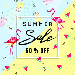 Summer Sale Banner Template Background with flamingo, summer background. Vector Illustration