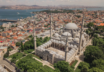 Aerial view of Suleymaniye Mosque in Istanbul