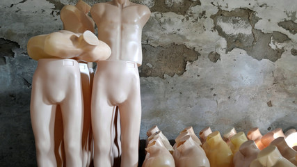 background with mannequins in old storehouse /  photography with scene mannequins in old storehouse