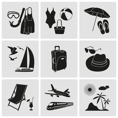 Travel and vacation detailed icons set