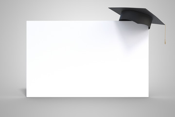 Education concept. Graduation cap on whiteboard isolated on white background. 3D rendered illustration.