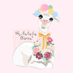 Beautiful llama, alpaca with pompoms, tied bow and floral wreath, flowers bouquet. Vector, sketch, outline, cartoon illustration