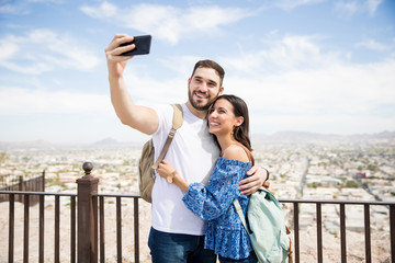 Couple in love clicking a selfie