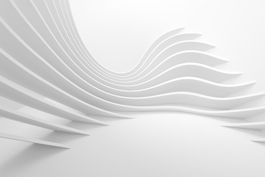 White Architecture Circular Background. Modern Building Design