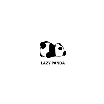 Lazy panda sleeping icon, logo design, vector illustration.