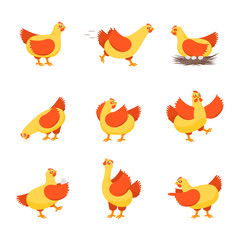 Cartoon Characters Happy Hens Set. Vector