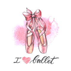 Illustration, hand drawn  pair of well-worn ballet pointes shoes