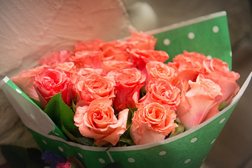 Bouquet of pink roses close-up.