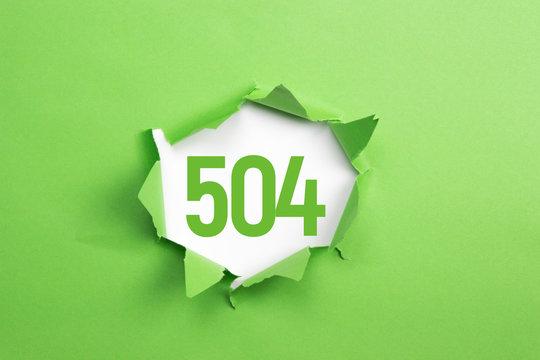 gruene Nummer 504 auf gruenem Papier