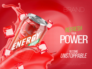 Cranberry cold energy drink in metal can with ice and juice splash advertising banner, soda water branding ready mockup high quality 3d vector realistic illustration