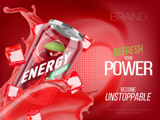 Cherry cold energy drink in metal can with ice and juice splash advertising banner, soda water branding ready mockup high quality 3d vector realistic illustration