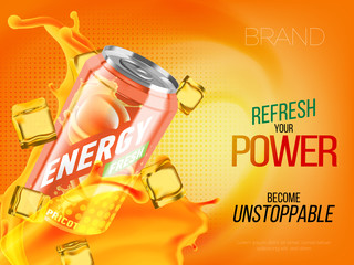 Apricot cold energy drink in metal can with ice and juice splash advertising banner, soda water branding ready mockup high quality 3d vector realistic illustration