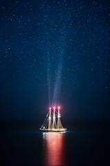 Ship at Rest under a Starry Night Sky