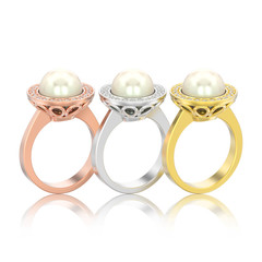 3D illustration three isolated different gold diamond engagement wedding ring with pearl with reflection