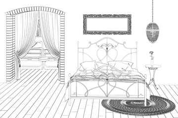 3d illustration. The sketch of the white bedroom. Cam 3