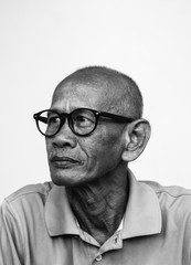 Portrait of Asian man wearing glasses