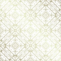 Vector modern geometric seamless pattern based on motif ancient northern embroidery; White and metallic.
