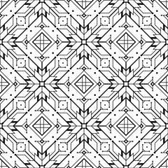 Vector modern geometric black and white seamless pattern based on motif ancient northern embroidery.