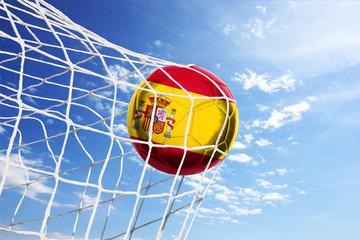 Fussball mit spanischer Flagge