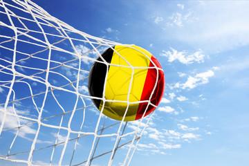 Fussball mit belgischer Flagge