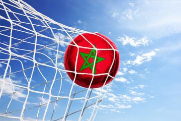 Fussball mit marokkanischer Flagge