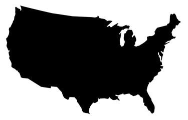 United States of America map , black usa map on white background