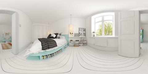 Spherical 360 panorama projection Bedroom interior design 3D rendering