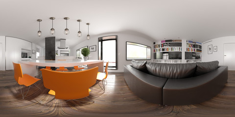 Spherical 360 panorama projection Scandinavian style interior design 3D rendering