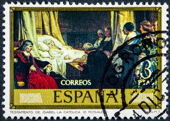 stamp printed by Spain shows Testament Isabel the Catholic painted by Rosales