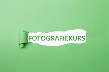 Fotografiekurs zum Studium der Fotografie grüner Schriftzug