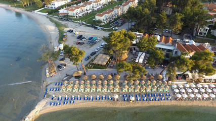 Aerial view of Pefkochori beach, Kassandra peninsula, Greece