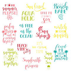 Summer holidays and vacation quotes, phrases and words. Vector set of Hand drawn calligraphy.