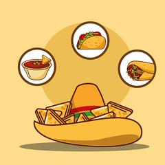 delicious hat nacho sauce taco and burrito vector illustration