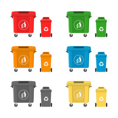 Vector illustration. Set of colorful garbage cans.