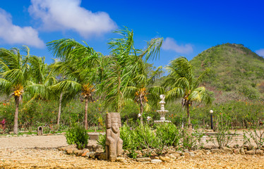 Outdoor view of some stoned structures close to a coconut palm trees in a caribbean Beach in beautifunny sunny day and blue sky