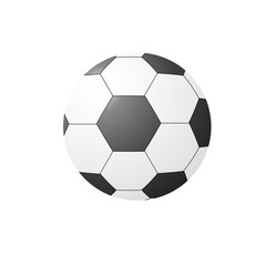Black and white soccer ball close-up isolated on white background. Football  equipment. Vector illustration