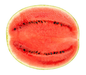 Sweet watermelon half, cross section, front view, isolated on white background. Ripe fruit of Citrullus lanatus with green striped skin, red pulp and black seeds. Raw and organic. Food photo, closeup.