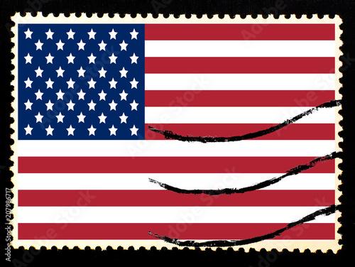 aa07ed7f8ae1 Illustration of national flag of United States of America on vintage  postage stamp on black background